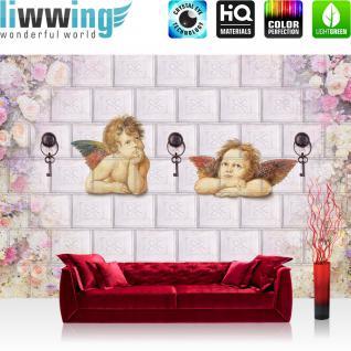 liwwing Fototapete 368x254 cm PREMIUM Wand Foto Tapete Wand Bild Papiertapete - Kunst Tapete Engel Kacheln Schlüssel Blumen Blüten Flügel beige - no. 2285