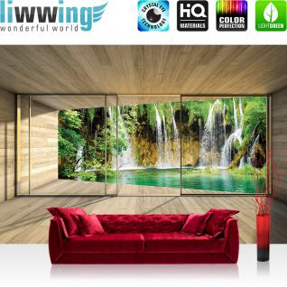 liwwing Vlies Fototapete 312x219cm PREMIUM PLUS Wand Foto Tapete Wand Bild Vliestapete - Natur Tapete Wasserfall Holzoptik Rahmen grün - no. 1532