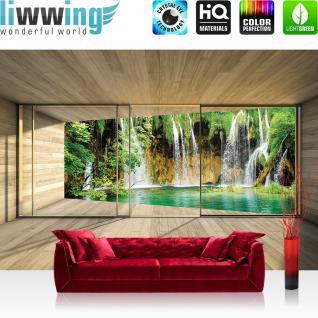 liwwing Vlies Fototapete 416x254cm PREMIUM PLUS Wand Foto Tapete Wand Bild Vliestapete - Natur Tapete Wasserfall Holzoptik Rahmen grün - no. 1532