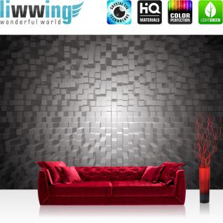 liwwing Fototapete 368x254 cm PREMIUM Wand Foto Tapete Wand Bild Papiertapete - 3D Tapete Formen Vierecke grau - no. 1338