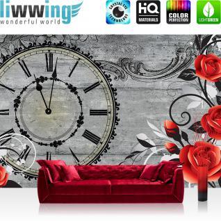 liwwing Vlies Fototapete 416x254cm PREMIUM PLUS Wand Foto Tapete Wand Bild Vliestapete - Blumen Tapete Blüte Rose Ranke Malerei Uhr Zeit grau - no. 2993