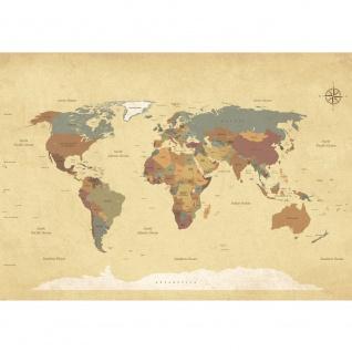 Fototapete Städte & Länder Tapete Landkarte Karte Kontinent Vintage Globus Atlas Reise ocker | no. 4325