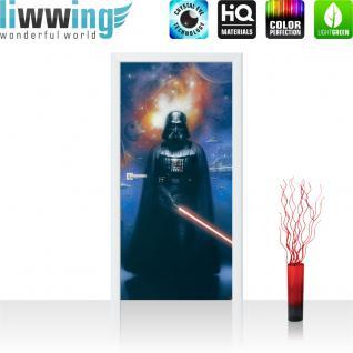 liwwing Türtapete selbstklebend 91x211 cm PREMIUM PLUS Tür Fototapete Türposter Türpanel Foto Tapete Bild - STAR WARS Darth Vader Planeten Weltall - no. 436