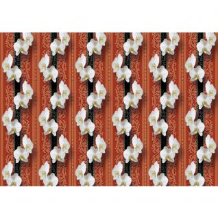 liwwing Fototapete 254x168 cm PREMIUM Wand Foto Tapete Wand Bild Papiertapete - Orchideen Tapete Ornamente Blüte Illustrationen rot - no. 345 - Vorschau 2