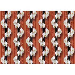 liwwing Fototapete 368x254 cm PREMIUM Wand Foto Tapete Wand Bild Papiertapete - Orchideen Tapete Ornamente Blüte Illustrationen rot - no. 345 - Vorschau 2