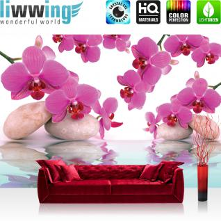 liwwing Fototapete 368x254 cm PREMIUM Wand Foto Tapete Wand Bild Papiertapete - Orchideen Tapete Steine Wasser Wellness rosa lila - no. 413