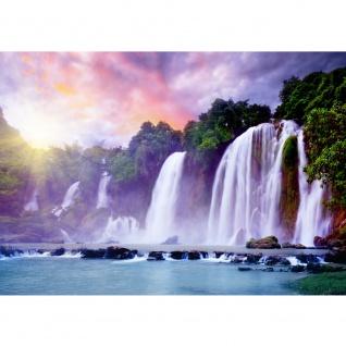 Fototapete Natur Tapete Wasserfall Bäume Wald Thailand See Wasser Meer Sonne grün | no. 247