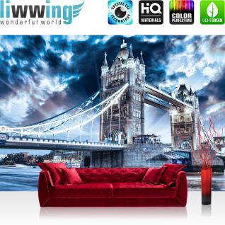 liwwing Vlies Fototapete 208x146cm PREMIUM PLUS Wand Foto Tapete Wand Bild Vliestapete - London Tapete Tower Bridge Wasser Licht blau - no. 3062