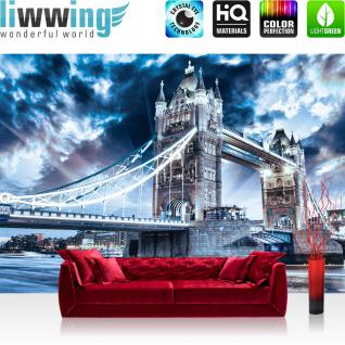 liwwing Vlies Fototapete 312x219cm PREMIUM PLUS Wand Foto Tapete Wand Bild Vliestapete - London Tapete Tower Bridge Wasser Licht blau - no. 3062