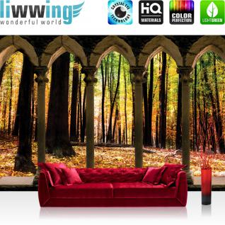 liwwing Vlies Fototapete 416x254cm PREMIUM PLUS Wand Foto Tapete Wand Bild Vliestapete - Wald Tapete Säule Natur Laub Herbst Bäume braun - no. 2801