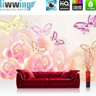 liwwing Vlies Fototapete 312x219cm PREMIUM PLUS Wand Foto Tapete Wand Bild Vliestapete - Blumen Tapete Blüten Rosen Schmetterlinge Linien rosa - no. 2182