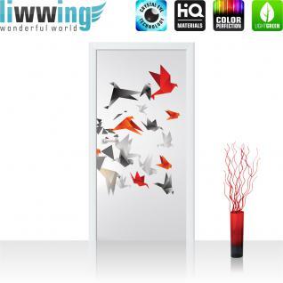 liwwing Türtapete selbstklebend 91x211 cm PREMIUM PLUS Tür Fototapete Türposter Türpanel Foto Tapete Bild - Origami Japan Vögel - no. 608