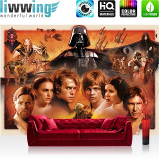 liwwing Fototapete 368x254 cm PREMIUM Wand Foto Tapete Wand Bild Papiertapete - Jungen Tapete STAR WARS Yoda Luke Skywalker Obi Wan Cartoon Illustration braun - no. 1816
