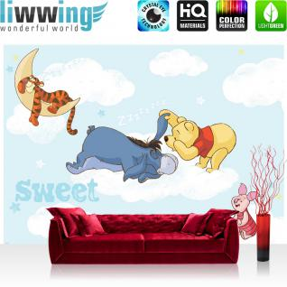 liwwing Vlies Fototapete 312x219cm PREMIUM PLUS Wand Foto Tapete Wand Bild Vliestapete - Disney Tapete Winnie Pooh Kindertapete Cartoons Tigger Esel Ferkel Wolken blau - no. 1396