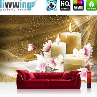 liwwing Vlies Fototapete 312x219cm PREMIUM PLUS Wand Foto Tapete Wand Bild Vliestapete - Illustrationen Tapete Blüten Rosen Tulpen Kerzen ocker - no. 3446