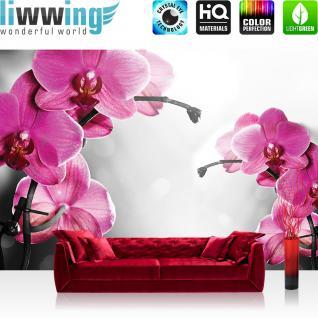 liwwing Fototapete 368x254 cm PREMIUM Wand Foto Tapete Wand Bild Papiertapete - Orchideen Tapete Orchidee Blumen Wellness lila - no. 1802