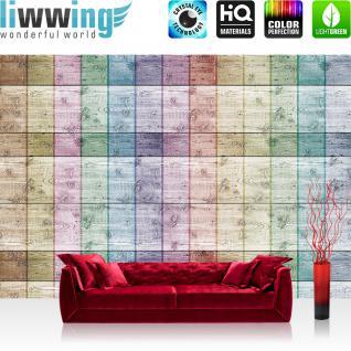 liwwing Vlies Fototapete 350x245 cm PREMIUM PLUS Wand Foto Tapete Wand Bild Vliestapete - Holz Tapete Holzwand Streifen Muster Illustrationen bunt Linien Flächen - no. 421
