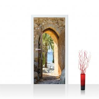 Türtapete - Natur Antik Bogen Tür Palmen Meer Bäume Stein   no. 4265