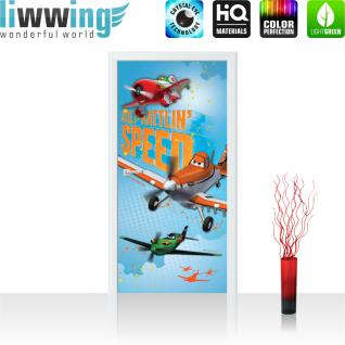 liwwing Türtapete selbstklebend 91x211 cm PREMIUM PLUS Tür Fototapete Türposter Türpanel Foto Tapete Bild - DISNEYToon Planes Dusty & El Chu Kindertapete Cartoon Flugzeuge - no. 1031