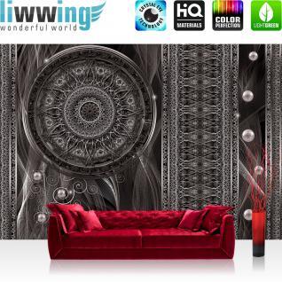 liwwing Fototapete 368x254 cm PREMIUM Wand Foto Tapete Wand Bild Papiertapete - Tiere Tapete Hirsch Tier Fell Geweih Säulen Perlen Geflecht weiß - no. 1525
