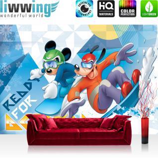 liwwing Vlies Fototapete 350x245 cm PREMIUM PLUS Wand Foto Tapete Wand Bild Vliestapete - Disney Tapete - Mickey Mouse - Goofy Kindertapete Cartoon Eis Schneeflocken blau - no. 1149