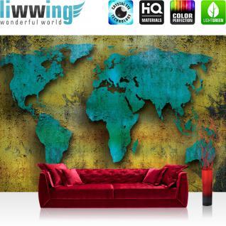 liwwing Vlies Fototapete 208x146cm PREMIUM PLUS Wand Foto Tapete Wand Bild Vliestapete - Geographie Tapete Länder Städte Kontinente Welt Kunst Malerei blau - no. 1385