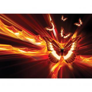liwwing Vlies Fototapete 104x50.5cm PREMIUM PLUS Wand Foto Tapete Wand Bild Vliestapete - Illustrationen Tapete Schmetterling Illustration Feuer rot - no. 1289 - Vorschau 2