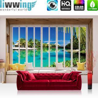 liwwing Vlies Fototapete 416x254cm PREMIUM PLUS Wand Foto Tapete Wand Bild Vliestapete - Meer Tapete Mittelmeer Strand Karibik Südsee Fenster natural - no. 3428