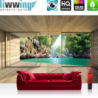 liwwing Vlies Fototapete 208x146cm PREMIUM PLUS Wand Foto Tapete Wand Bild Vliestapete - Holz Tapete Wasser Bucht Felsen Holzwand Holzoptik Rahmen Fenster beige - no. 1659