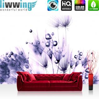 liwwing Fototapete 254x168 cm PREMIUM Wand Foto Tapete Wand Bild Papiertapete - Pflanzen Tapete Pusteblume Tropfen Pflanzen Wasser Wellness lila - no. 311