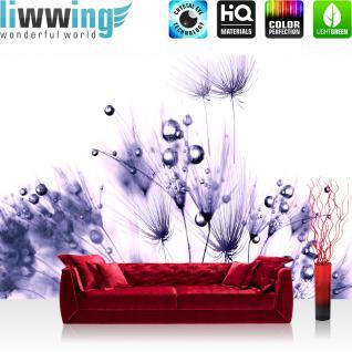 liwwing Fototapete 368x254 cm PREMIUM Wand Foto Tapete Wand Bild Papiertapete - Pflanzen Tapete Pusteblume Tropfen Pflanzen Wasser Wellness lila - no. 311