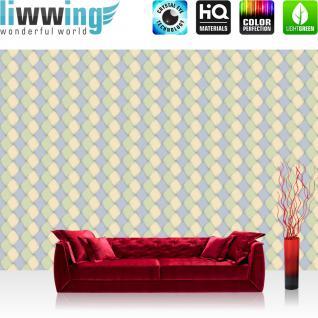 liwwing Vlies Fototapete 350x245 cm PREMIUM PLUS Wand Foto Tapete Wand Bild Vliestapete - Illustrationen Tapete Abstrakt Rechtecke Kacheln Formen bunt Muster blau - no. 394