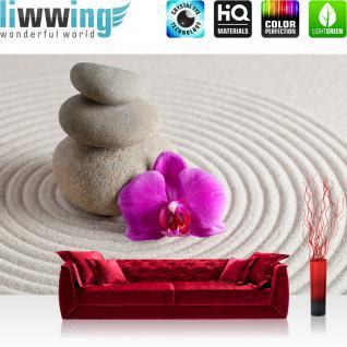 liwwing Vlies Fototapete 400x280 cm PREMIUM PLUS Wand Foto Tapete Wand Bild Vliestapete - Orchideen Tapete Steine Sand Wellness lila beige Sand beige - no. 388