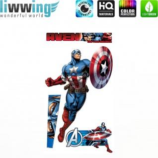 Wandsticker Marvel Avengers - No. 4645 Wandtattoo Sticker Kinderzimmer Hulk Iron Man Thor Captain America