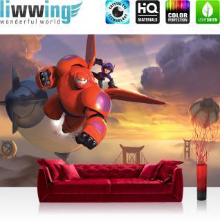 liwwing Vlies Fototapete 416x254cm PREMIUM PLUS Wand Foto Tapete Wand Bild Vliestapete - Disney Tapete Big hero 6 Disnes Big Hero Roboter Cartoons Illustration rot - no. 1342