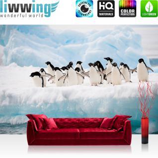 liwwing Fototapete 368x254 cm PREMIUM Wand Foto Tapete Wand Bild Papiertapete - Tiere Tapete Pinguine Tier Eis Schnee Eisscholle Meer weiß - no. 2015