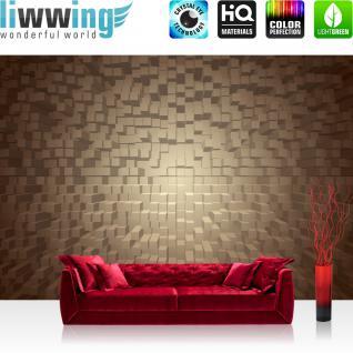 liwwing Fototapete 254x168 cm PREMIUM Wand Foto Tapete Wand Bild Papiertapete - 3D Tapete Formen Vierecke sepia - no. 1339