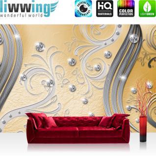 liwwing Vlies Fototapete 300x210 cm PREMIUM PLUS Wand Foto Tapete Wand Bild Vliestapete - Ornamente Tapete Abstrakt Perlen Ranke Diamant Blätter Schwung Streifen gelb - no. 560