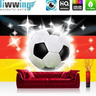 liwwing Vlies Fototapete 300x210 cm PREMIUM PLUS Wand Foto Tapete Wand Bild Vliestapete - Fußball Tapete Fussball Ball Sterne Deutschland Nationalelf Mannschaft weiß - no. 1036