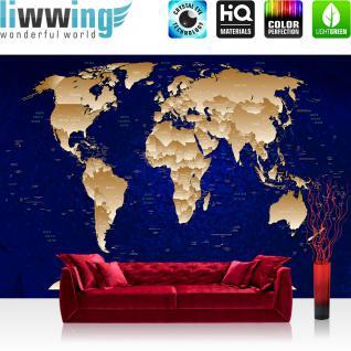 liwwing Fototapete 368x254cm PREMIUM Wand Foto Tapete Wand Bild Papiertapete - Welt Tapete Weltkarte politisch Holzwand beige - no. 3523