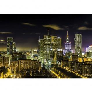 Fototapete Skylines Tapete Städte Warschau Night Nacht Skyline schwarz | no. 1705