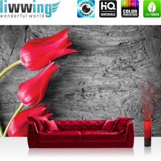 liwwing Vlies Fototapete 312x219cm PREMIUM PLUS Wand Foto Tapete Wand Bild Vliestapete - Blumen Tapete Pflanzen Holz Muster Natur rot - no. 2393