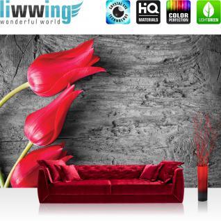 liwwing Vlies Fototapete 416x254cm PREMIUM PLUS Wand Foto Tapete Wand Bild Vliestapete - Blumen Tapete Pflanzen Holz Muster Natur rot - no. 2393