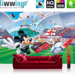 liwwing Vlies Fototapete 416x254cm PREMIUM PLUS Wand Foto Tapete Wand Bild Vliestapete - Disney Tapete Micky Maus Fussball Tor Deutschland Mickey Mouse Cartoon bunt - no. 3168
