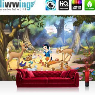 liwwing Fototapete 254x168 cm PREMIUM Wand Foto Tapete Wand Bild Papiertapete - Disney Tapete Schneewittchen und die 5 Zwerge Kindertapete Märchen Schloss bunt - no. 2439