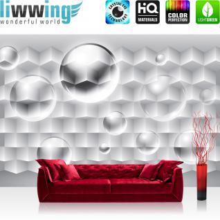 liwwing Vlies Fototapete 416x254cm PREMIUM PLUS Wand Foto Tapete Wand Bild Vliestapete - 3D Tapete Rechtecke Illustration Bubble Muster weiß - no. 3094
