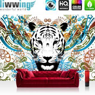 liwwing Vlies Fototapete 312x219cm PREMIUM PLUS Wand Foto Tapete Wand Bild Vliestapete - Kunst Tapete Tiger Tier Ornamente Schnörkel Kunst weiß - no. 2205