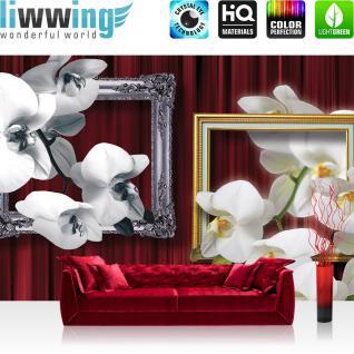 liwwing Vlies Fototapete 312x219cm PREMIUM PLUS Wand Foto Tapete Wand Bild Vliestapete - Orchideen Tapete Bilderrahmen Natur Vorhang Blume Pflanzen rot - no. 1216