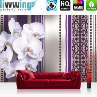 liwwing Vlies Fototapete 312x219cm PREMIUM PLUS Wand Foto Tapete Wand Bild Vliestapete - Blumen Tapete Blüten Blätter Orchideen Kunst Ornamente Streifen lila - no. 3083