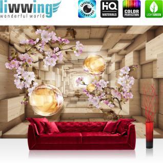 liwwing Vlies Fototapete 350x245 cm PREMIUM PLUS Wand Foto Tapete Wand Bild Vliestapete - 3D Tapete Abstrakt Kirschblüte Perle Rechteck 3D Holzoptik Blumen braun - no. 966